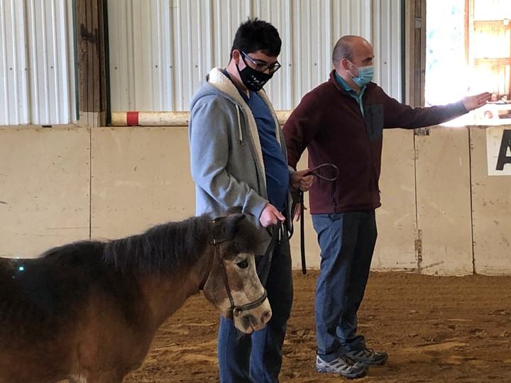 Gaitway High School Students are practicing their skills at side walking the horses during Equine Partnerships class!