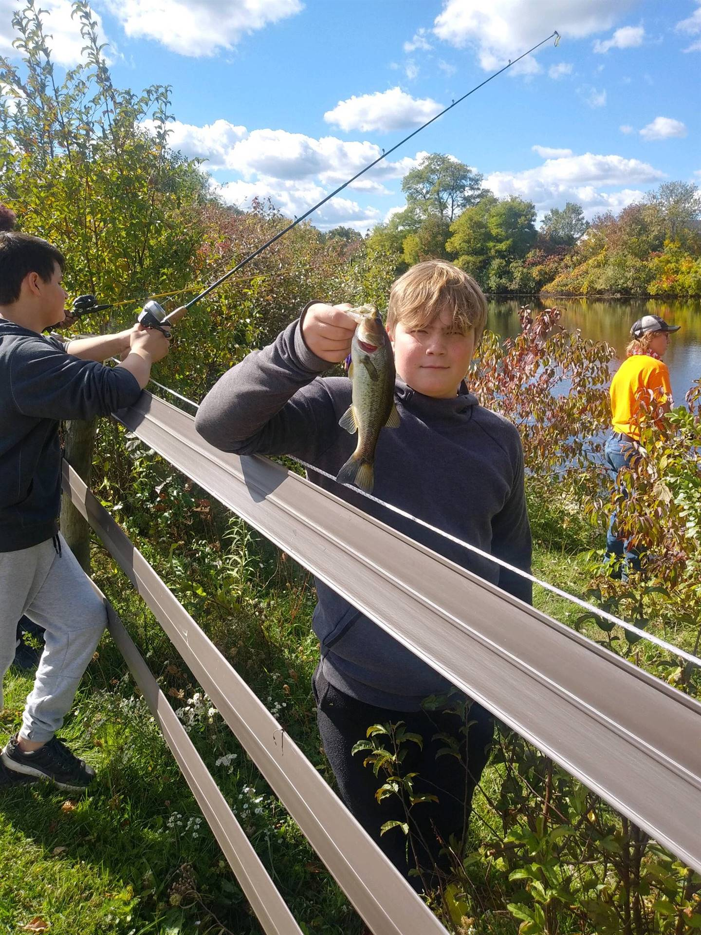Gaitway High School Students enjoying some nice weather out at the Fieldstone Farms pond!