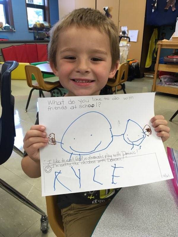 Student who made a picture of himself and wrote his name