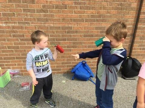 Students exploring outside