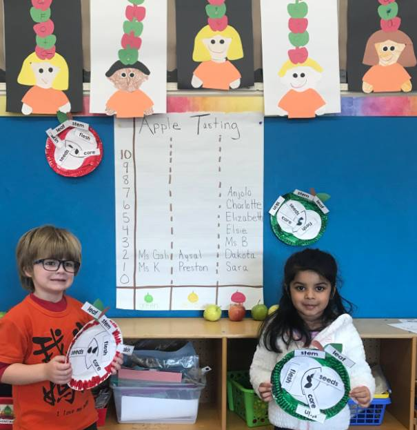 Preschool students pictured with fun apple activity from the Great Lakes Great Apple Crunch Week!