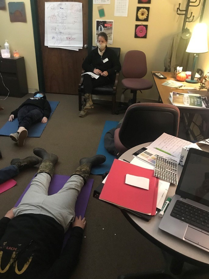 Gaitway High School Students relax and re-center with staff