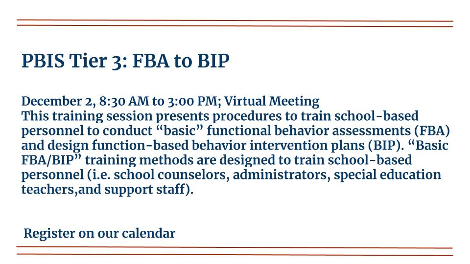 PBIS Tier 3 is on December 2nd, 2020