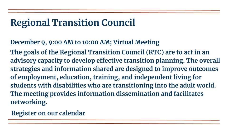 Regional Transition Council is on December 9th, 2020
