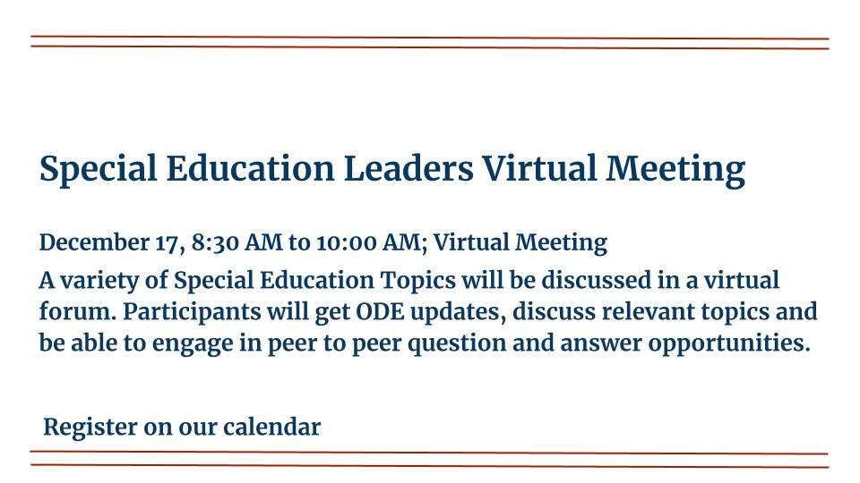 Special Education Leaders Virtual Meeting is on December 17, 2020