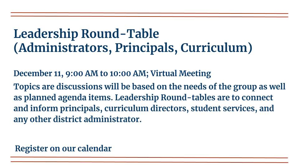 Leadership Round-table is on December 11, 2020