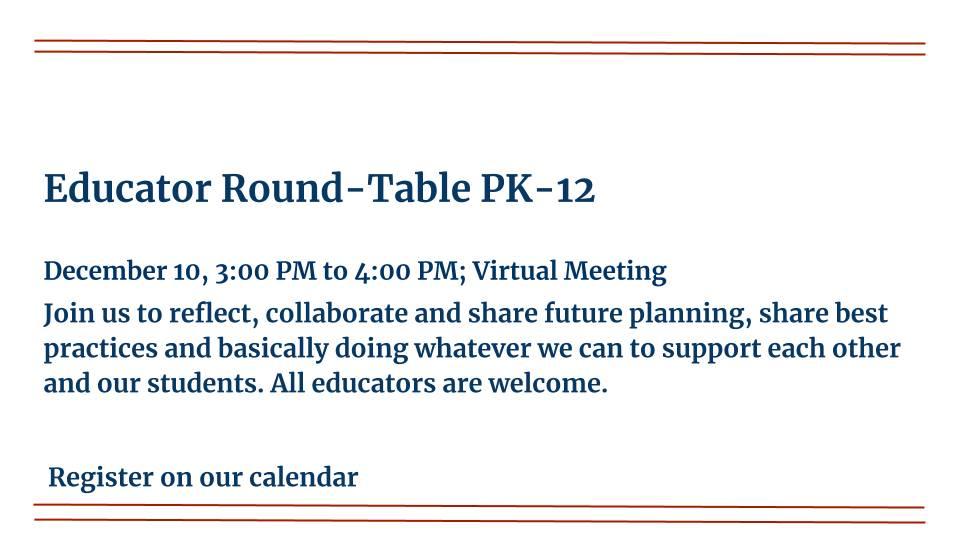 Educator Round Table PK-12