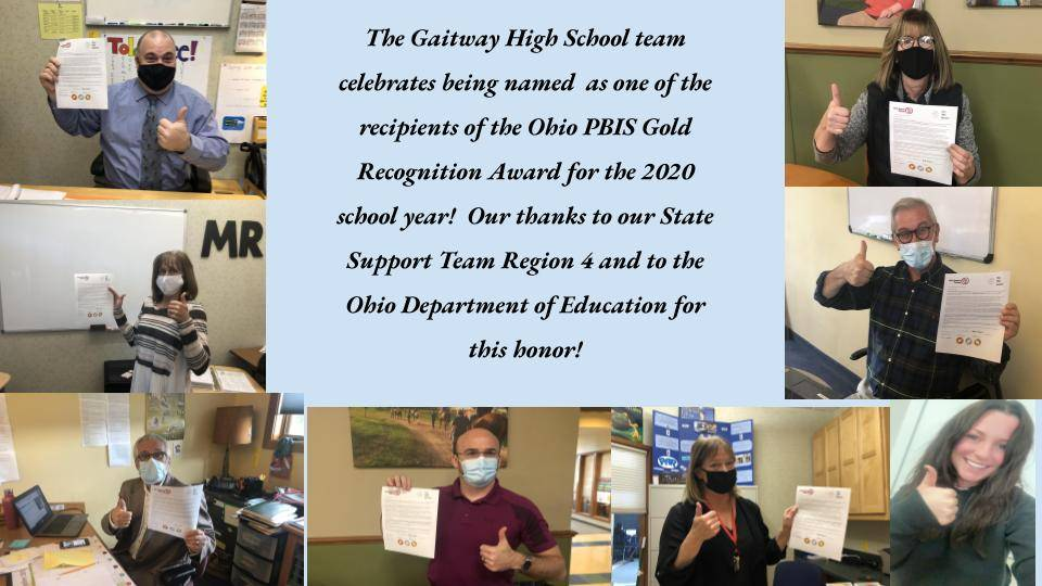 Our Gaitway Team is honored to receive the PBIS Gold Recognition award for the 2020 school year!