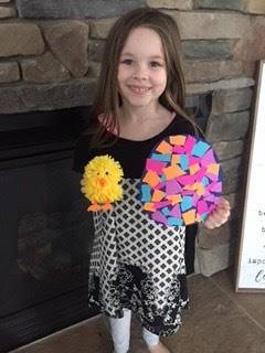Student created the Easter Egg Mosaic that her teacher Mrs. Robinson sent to her.