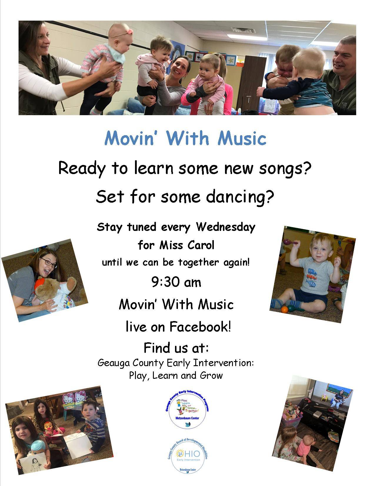 Movin' With Music Flyer, Every Wednesday, Join Us!