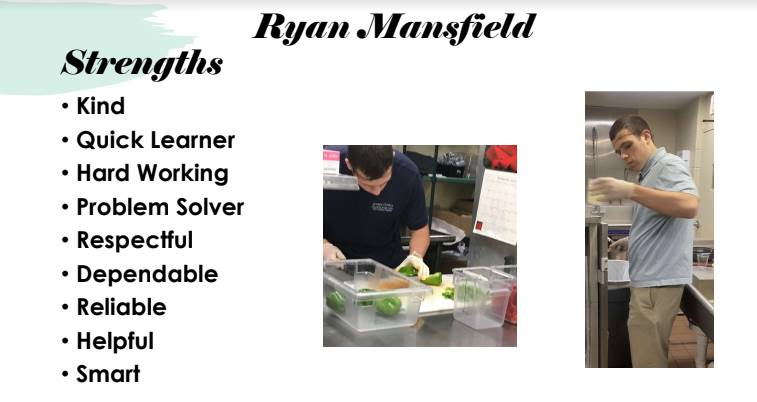 Student Ryan Mansfield pictured at his job site, special qualities listed