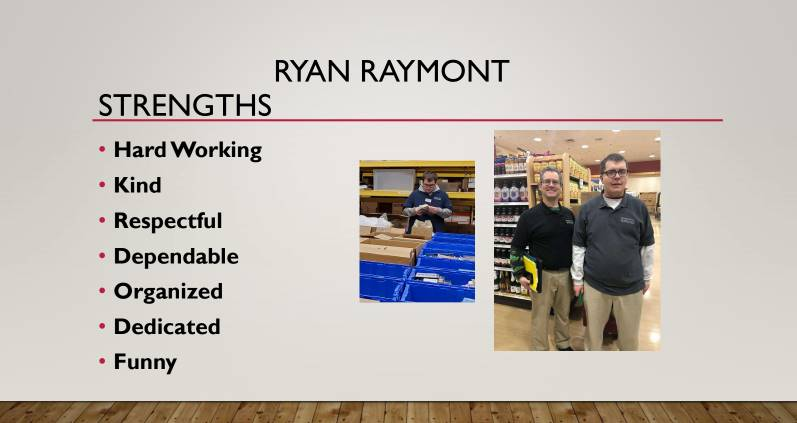 Student Ryan Raymont pictured working at his job site, qualities listed