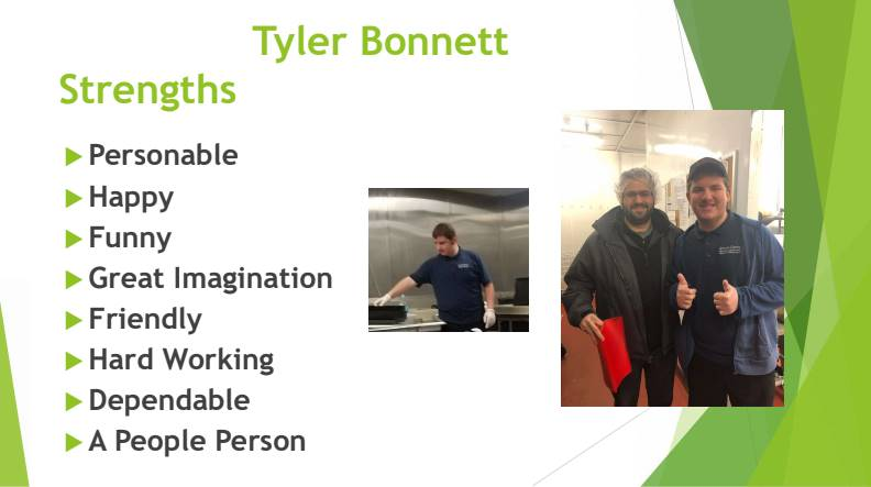 Student Tyler Bonnett pictured working at his job site, qualities listed