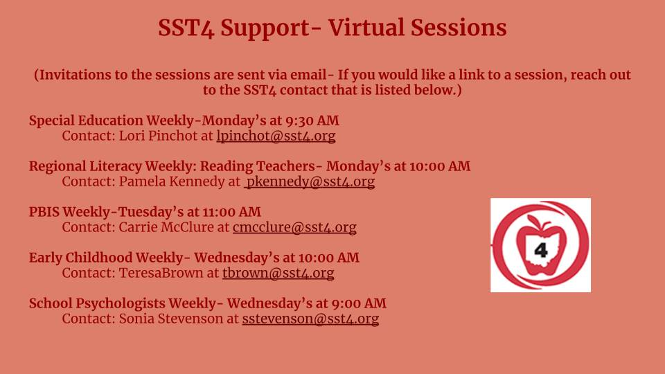 State Support Team 4 Support- Virtual Sessions