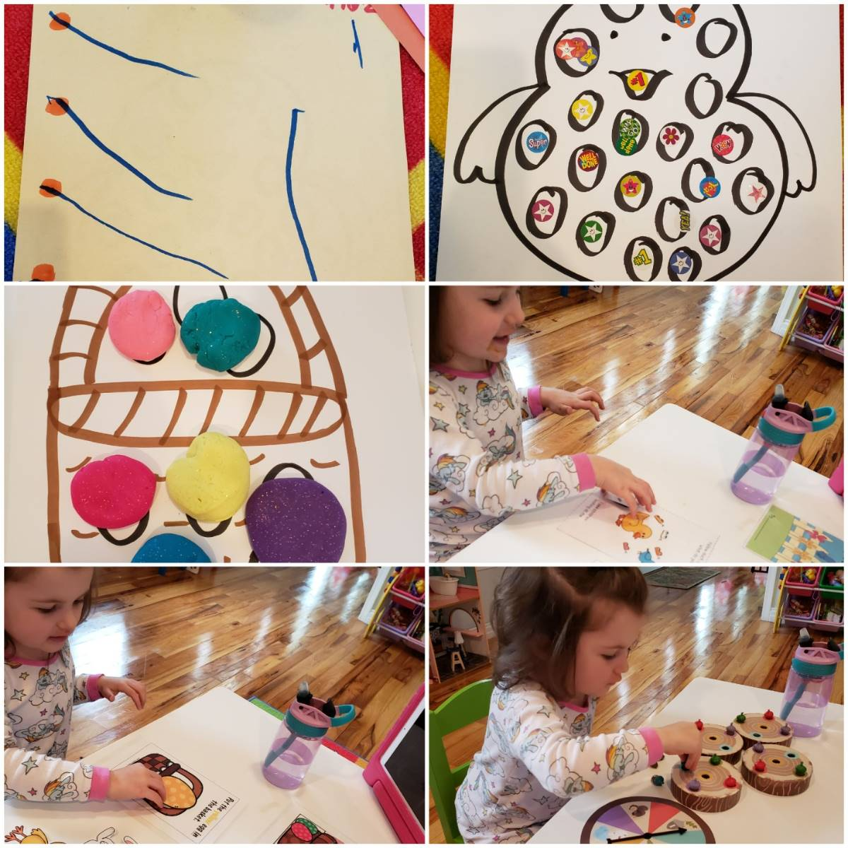 Collage of a preschooler's Occupational Therapy work from home!