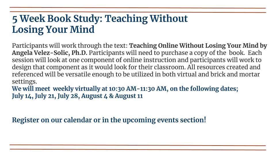 Book Study: Teaching without Losing Your Mind