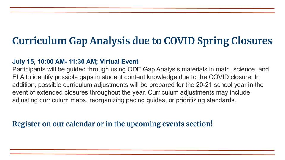 Curriculum Gap Analysis Due to COVID Spring Closures