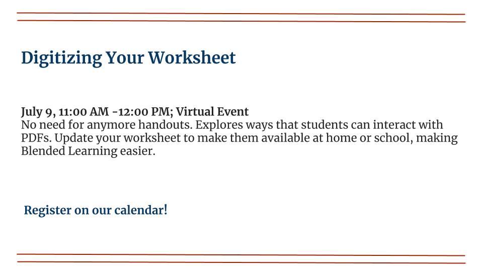 Digitizing your Worksheet