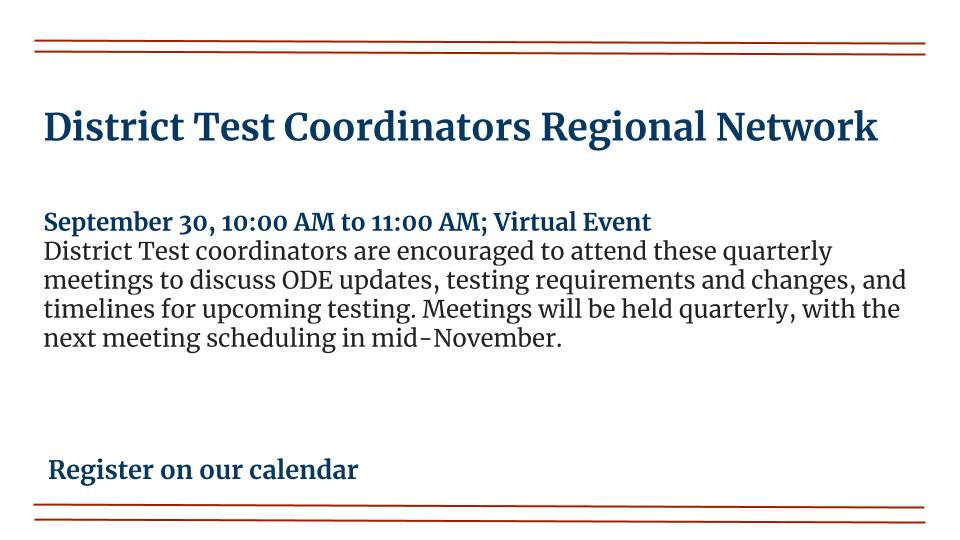 District Test Coordinators Regional Network