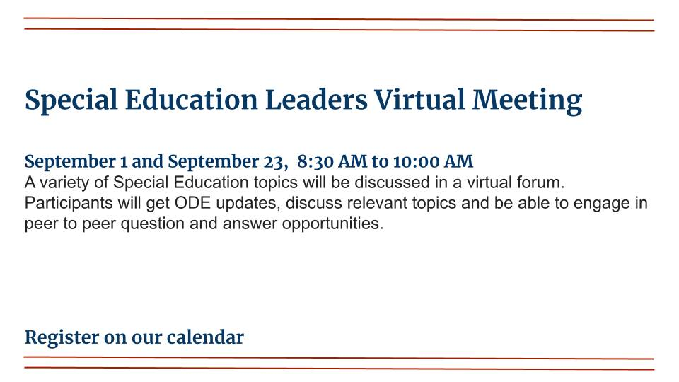 Special Education Leaders Virtual Meeting