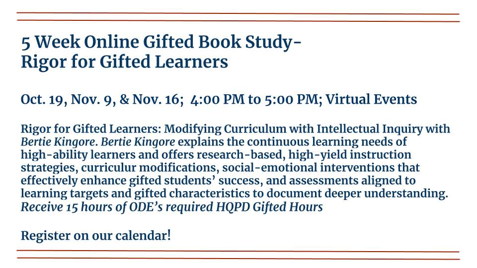 5 Week Online Gifted Book Study