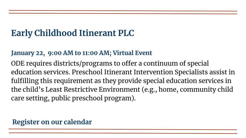 Early Childhood Itinerant PLC