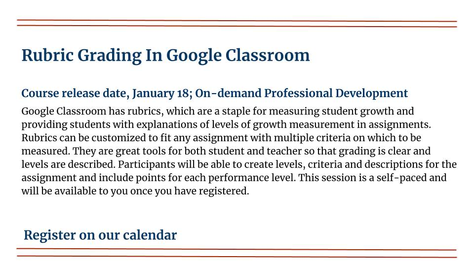 Rubric grading In Google Classroom