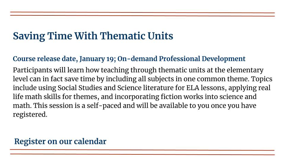 Saving Time With Thematic Units