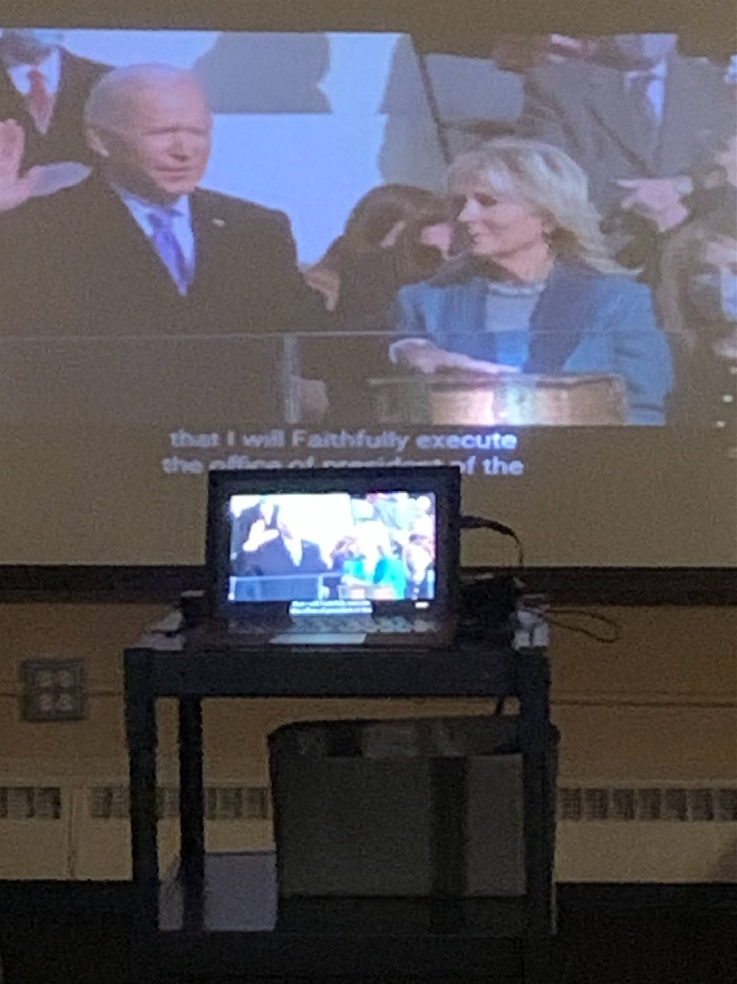 Carrington Students watched Presidential Inauguration live stream and completed activity to reinforc
