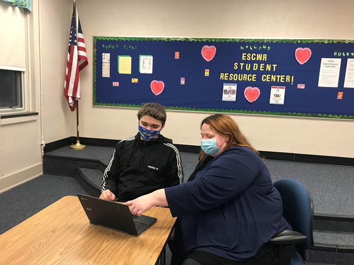 Rebecca Bruening provides tutoring services to students in core subject areas at our Student Resource Center.