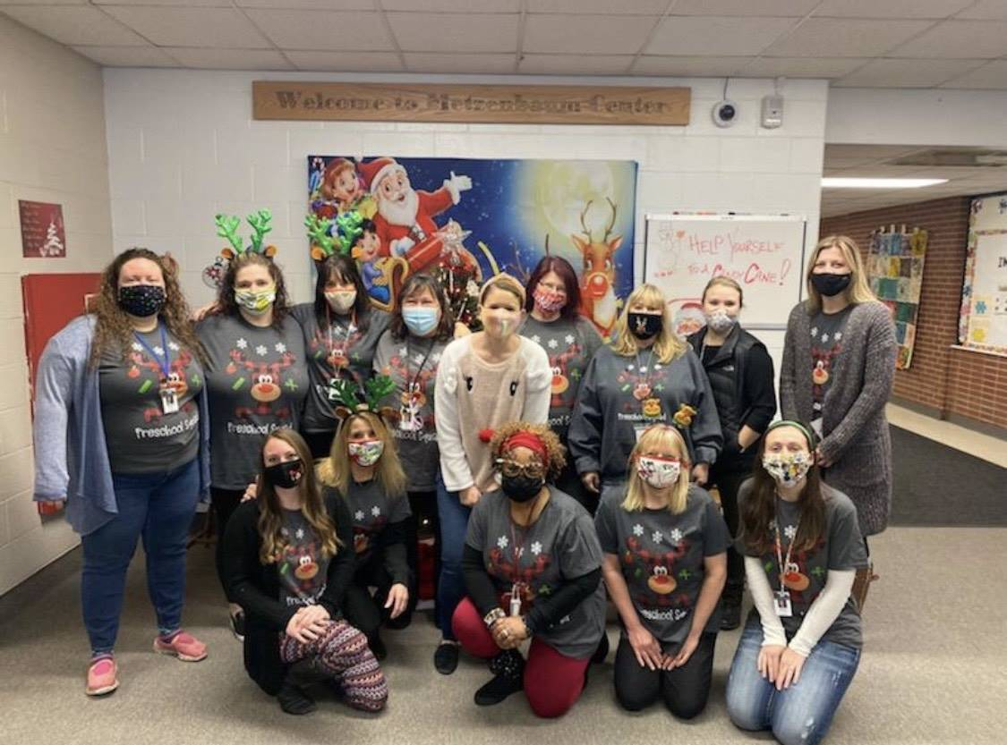 Out Preschool staff dressed up for the holidays