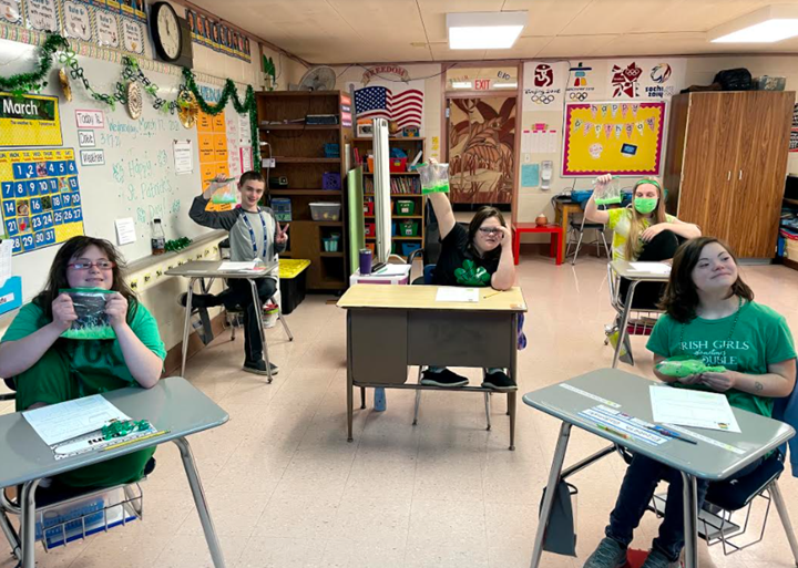 Our ACHIEVE students at West Geauga Middle School celebrated St. Patrick's Day with slime!