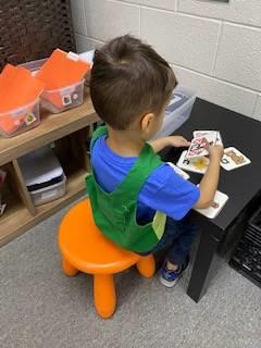 preschooler working on letter recognition