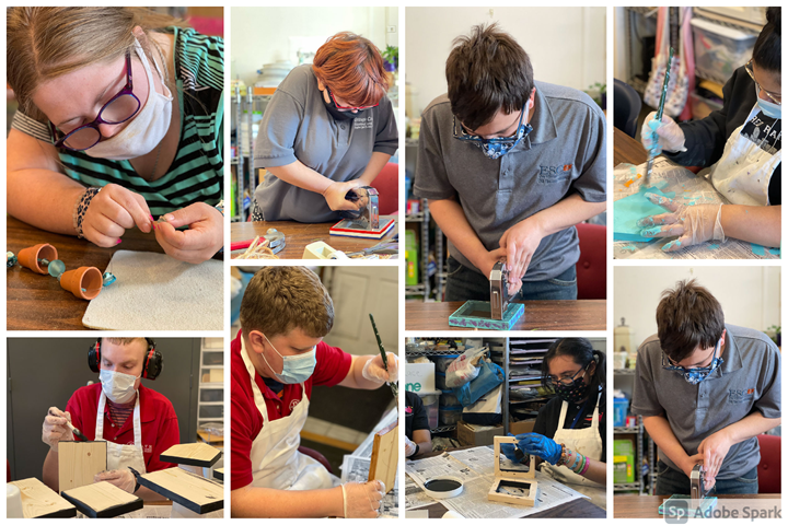 Our Unique Like Me students working hard making bird feeders, bird houses and windchimes!