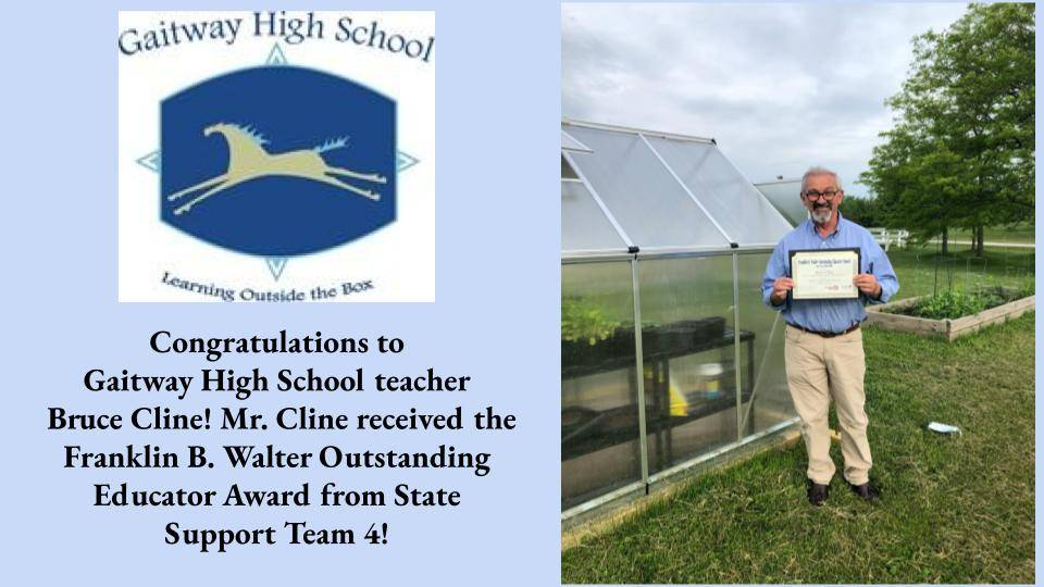 Bruce Cline, Intervention Specialist at Gaitway High School is awarded Franklin B. Walter Outstandin